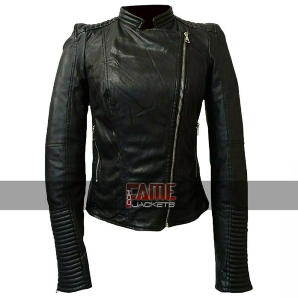 ladies real leather cafe racer slim fit jacket