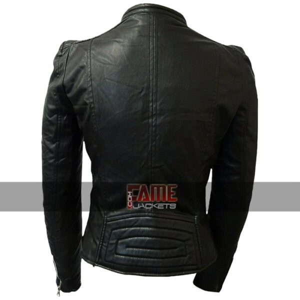 ladies real leathaer cafe racer jacket