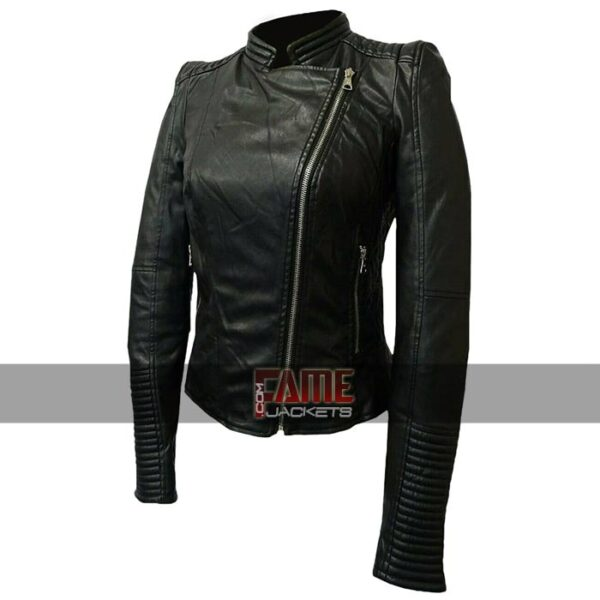 women cafe racer slim fit real leather jacket