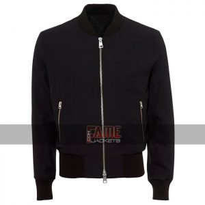 men navy blue bomber cotton jacket