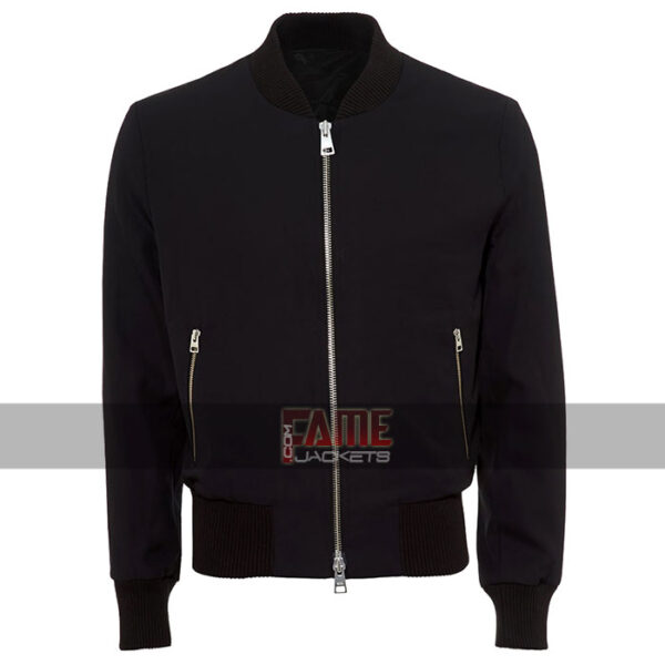 men navy blue bomber cotton jacket