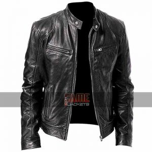 men cafe racer biker black leather jacket