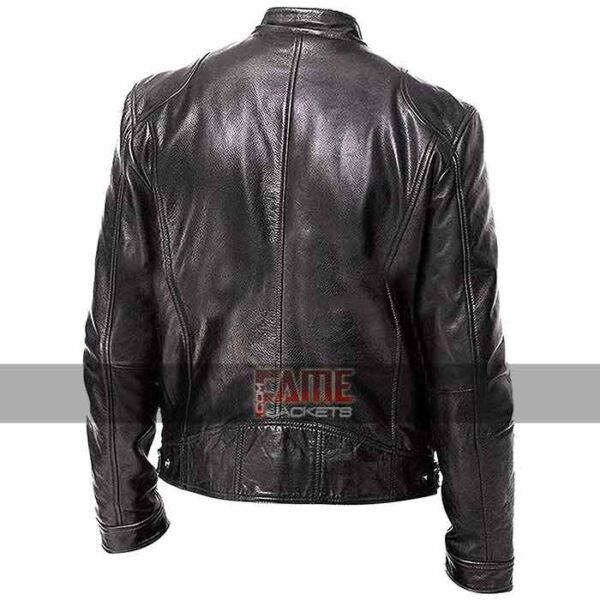 men cafe racer biker black leather jacket
