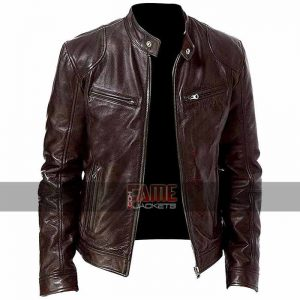 men cafe racer brown biker leather jacket