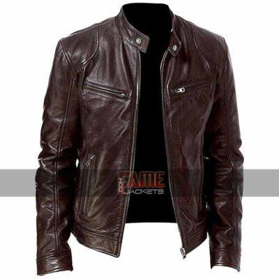 men cafe racer brown biker leather jacket