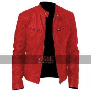 Men cafe racer vintage red biker leather jacket