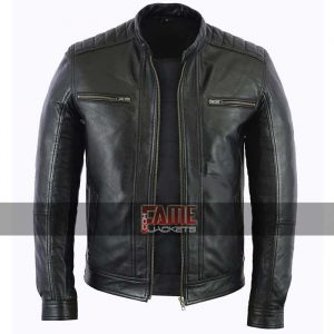 men casual black biker leather jacket