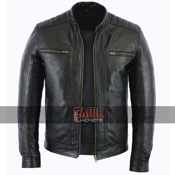 men casual black biker leather jacket