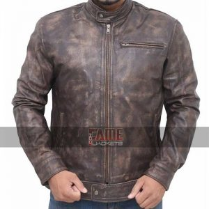 casual men brown distressed leather jacket