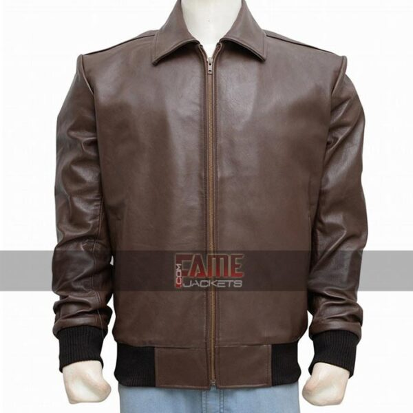 mens casual faux brown leather jacket