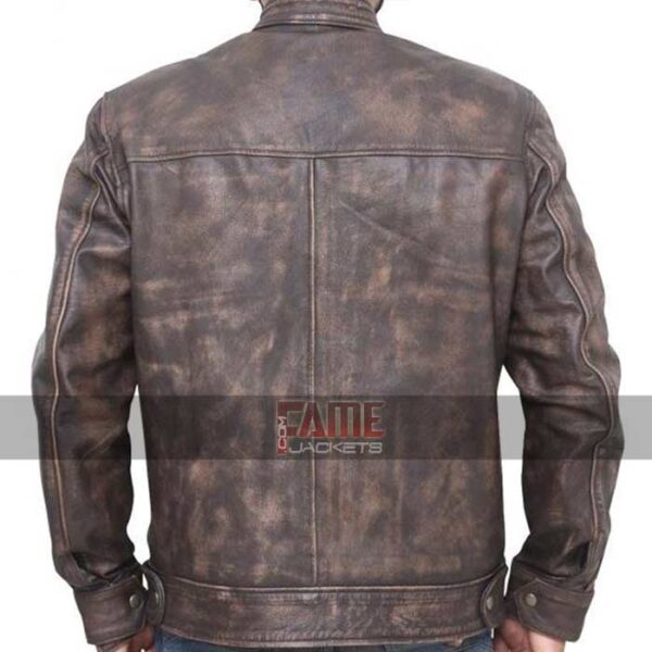 mens casual wear brown distressed real leather jacket