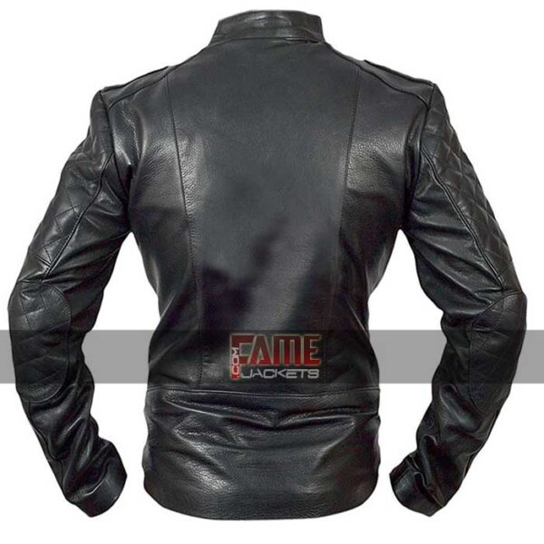 men diamond black biker leather jacket