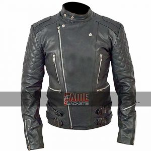 men quilted black biker leather jacket