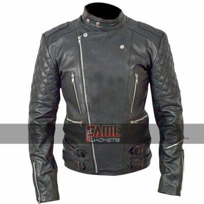 men quilted black biker leather jacket