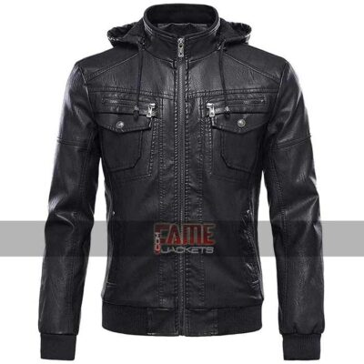 latest men black real leather jacket with hood
