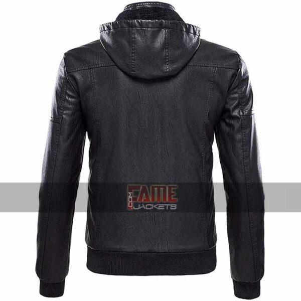 men new design real black leather jacket with hood