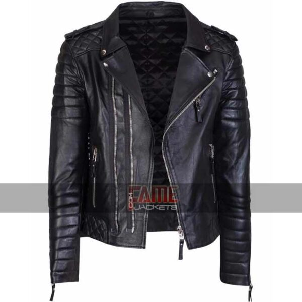 mens slim fit vintage real biker leather jacket