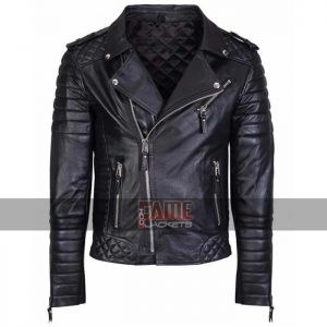 men slim fit vintage biker real leather jacket