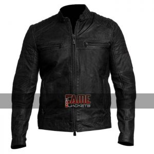 men vintage cafe racer distressed leather jacket
