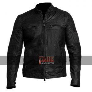 men vintage cafe racer distressed leather jacket