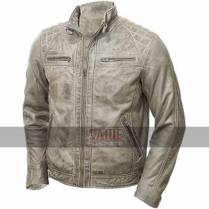 men vintage distressed real leather jacket