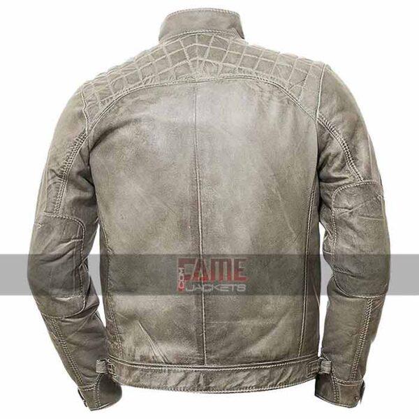 men vintage grey distressed real leather jacket