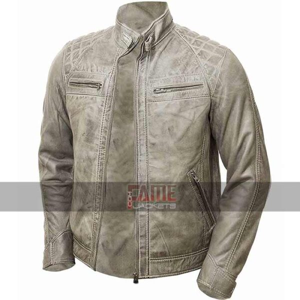 men vintage distressed biker leather jacket