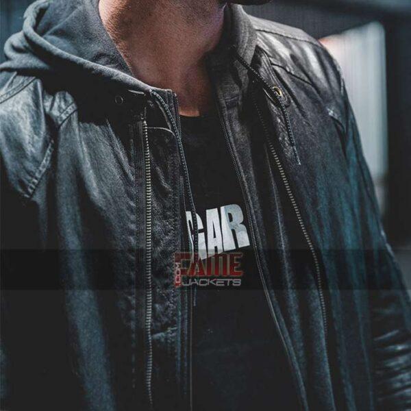 mens casual black biker cowhide leather jacket