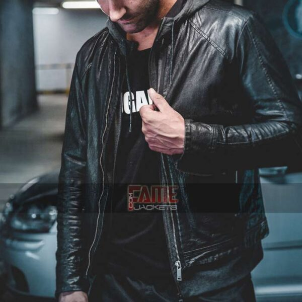 mens casual black sim fit faux leather jacket