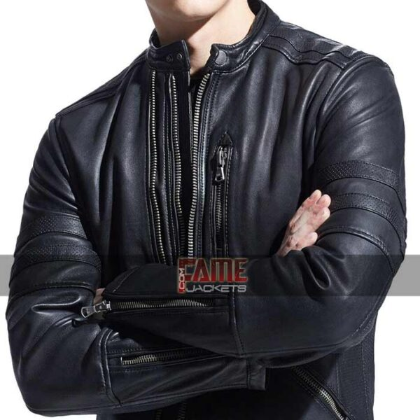 mens casual real slim fit biker leather jacket