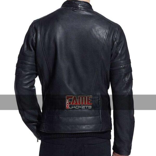 mens casual slim fit biker leather jacket