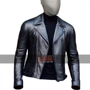 mens casual lapel collar vintage style leather jacket