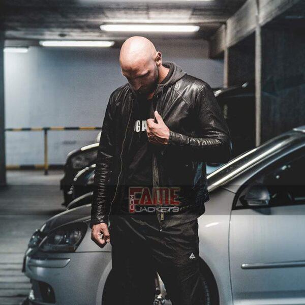 Mens casual black slim fit biker real leather jacket