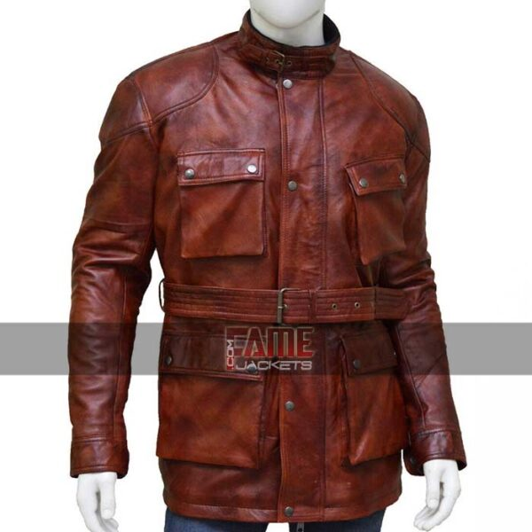 mens casual vintage real leather belted long jacket