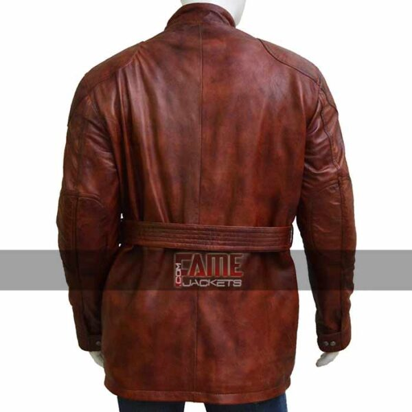 mens casual brown vintage leather belted long jacket