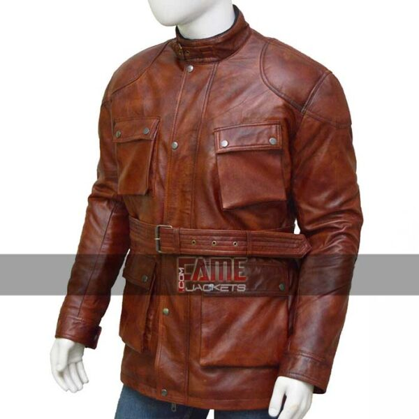 men brown casual vintage real leather belted jacket
