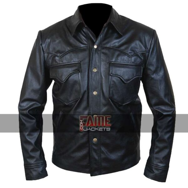 men new design real black leather shirt jacket