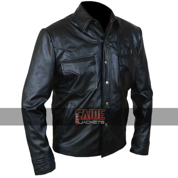 mens designer casual black leather jacket