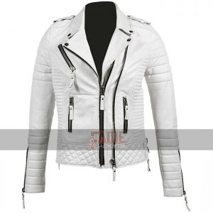 unisex slim fit real white leather biker jacket