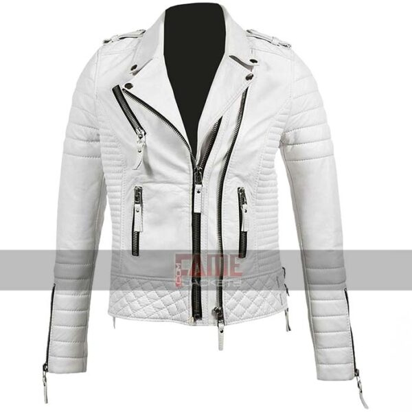 unisex slim fit real white leather biker jacket