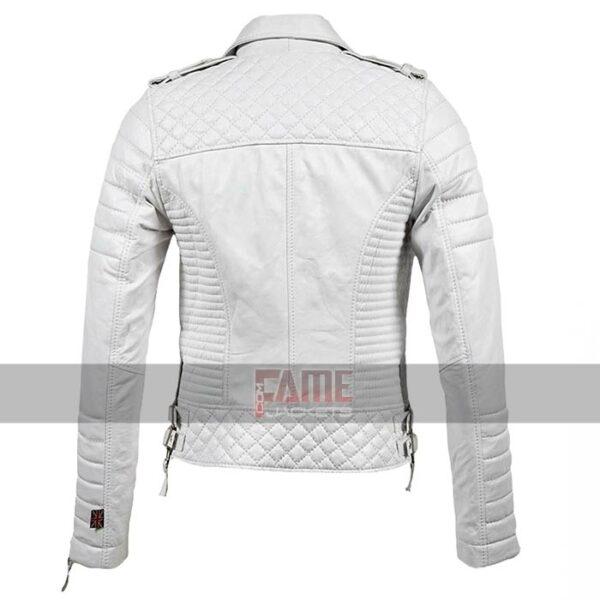 womens slim fit genuine leather biker jacket
