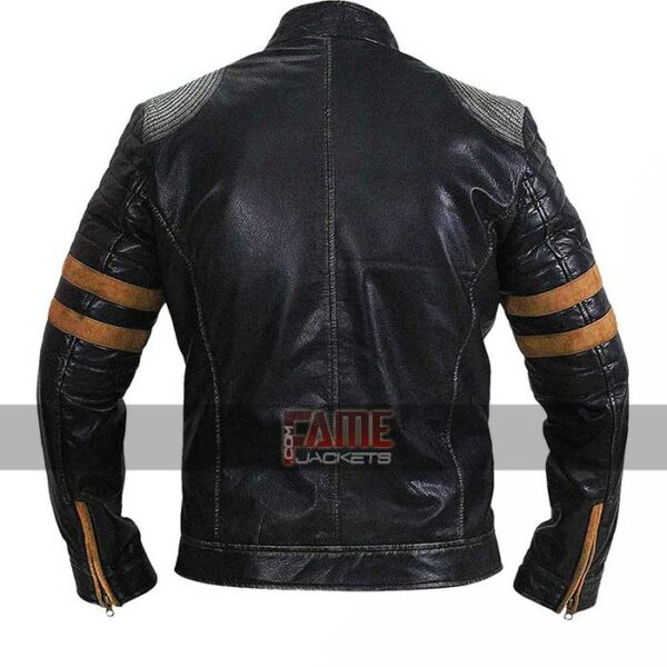 retro cafe racer quilted black leather jacket