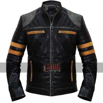mens retro cafe racer vintage biker leather jacket