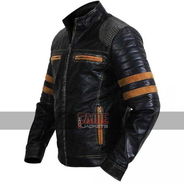 retro cafe racer striped vintage biker leather jacket
