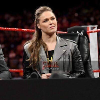 wwe ronda rousey black and grey real leather jacket