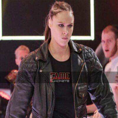 wwe ronda rousey black bomber biker leather jacket