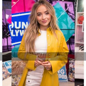 Buy Sabrina Carpenter Yellow Leather Coat at $50 Off