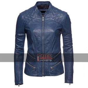 ladies blue cafe racer slim fit biker leather jacket