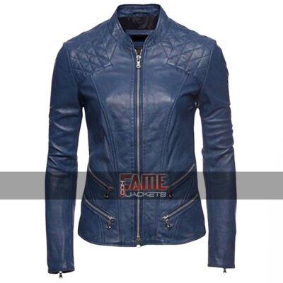 ladies blue cafe racer slim fit biker leather jacket
