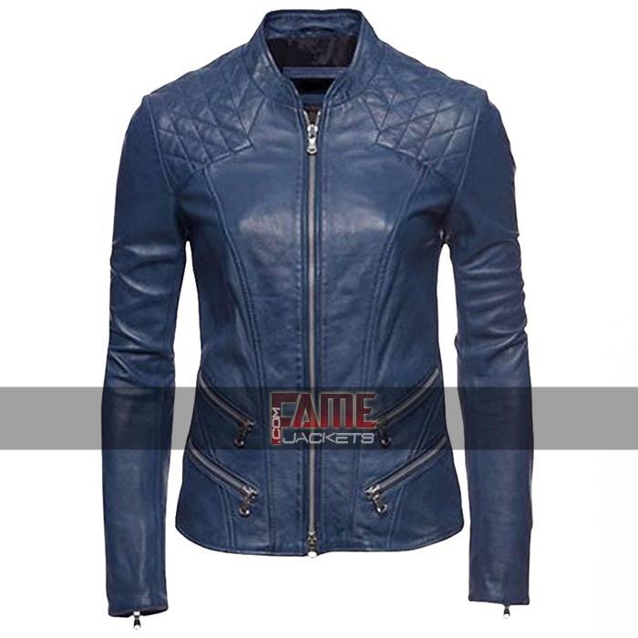Women/'s Blue Leather Jacket Biker Racer Motorcycle Cafe Slim-Fit Soft Lambskin